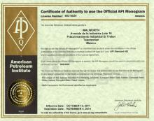 API-602 Certificate by American Petroleum Institute