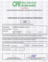 Certificate of Reliable Supplier issued by CFE
